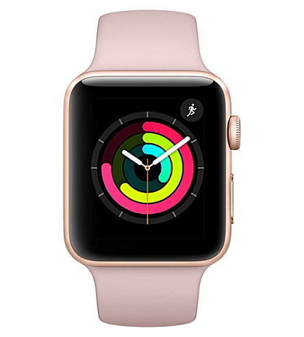 APPLE Apple Watch Series 3 GPS + Cellular Gold Aluminium Case with Pink Sand Sport Band 42mm (Pink+sand