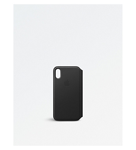APPLE Folio Black iPhone X leather case (Black