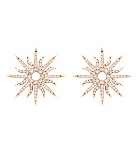 CHRISTINA DEBS Sunshine 18ct pink-gold and diamond earrings