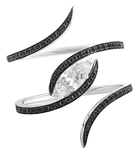 CHRISTINA DEBS Diamond tattoo 18ct white-gold, marquise and diamond ring