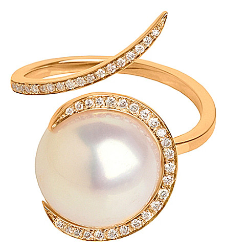 CHRISTINA DEBS Candy pop 18ct pink-gold, pearl and diamond ring
