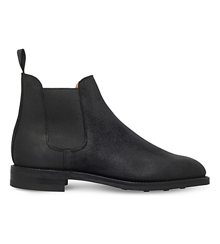 CROCKETT & JONES Distressed leather Chelsea boots (Black