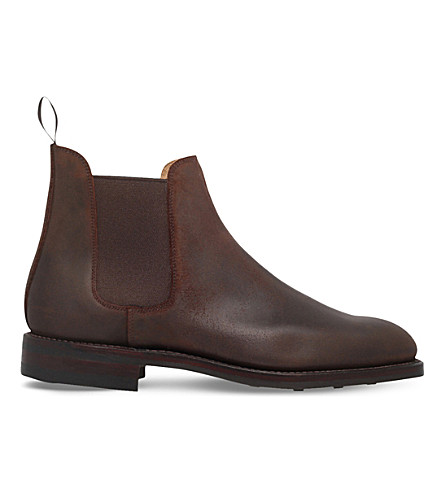 CROCKETT & JONES Distressed leather Chelsea boots (Brown