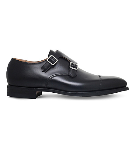 CROCKETT & JONES Lowndes leather double monk shoes (Black