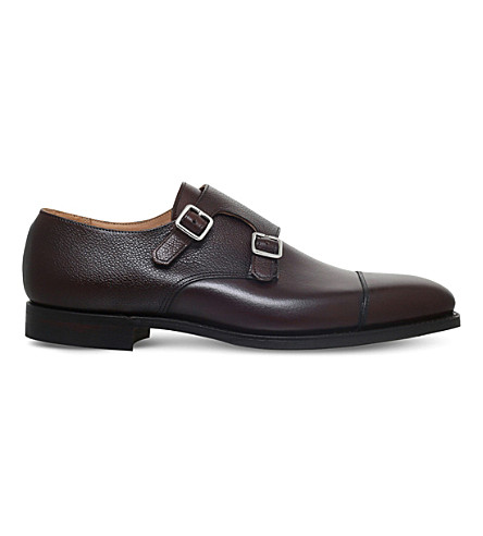 CROCKETT & JONES Lowndes leather double monk shoes (Dark+brown