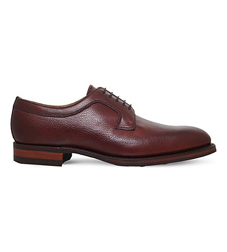 BARKER Skye plain leather derby shoes (Dark+brown