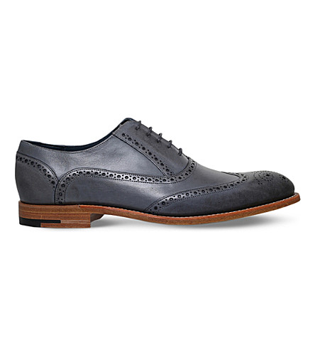 BARKER Valiant brogue leather oxford shoes (Grey