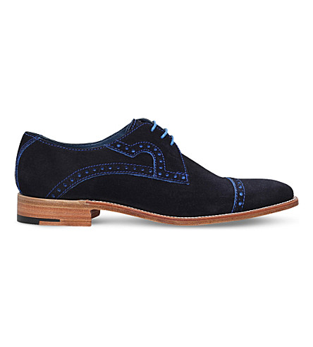 BARKER Opollo Punch suede Derby shoes (Navy
