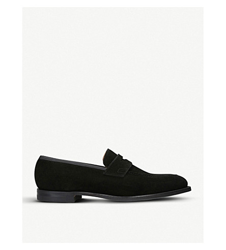 CROCKETT & JONES Sydney suede loafers (Black