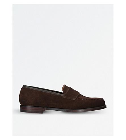 CROCKETT & JONES Boston suede penny loafers (Brown