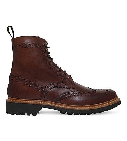 GRENSON Fred leather brogue boots (Tan