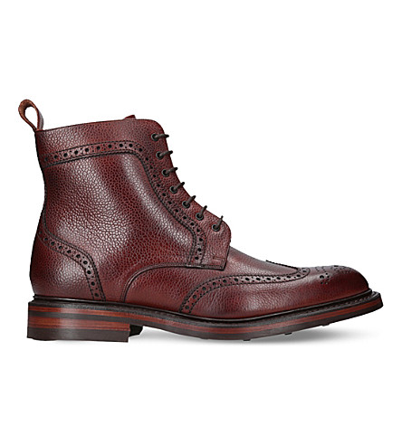 BARKER Calder leather brogue boots (Mid+brown