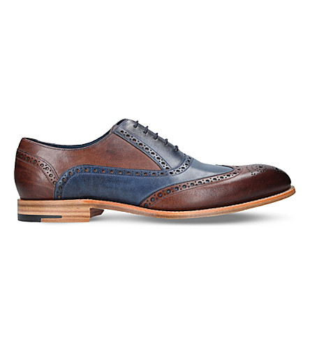 BARKER Valiant two-tone brogue leather oxford shoes (Blue+other