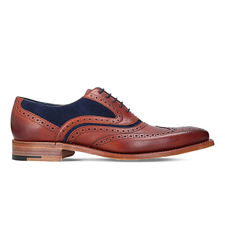 BARKER Mcclean leather and suede oxford brogues (Brown/oth