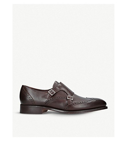 BARKER Fleet leather monkstrap shoes (Brown