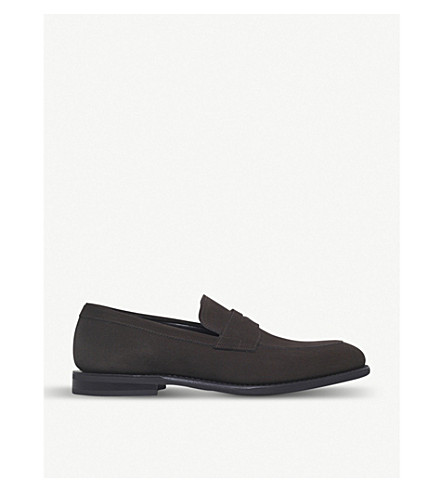 CHURCH Parham suede penny loafer (Dark+brown