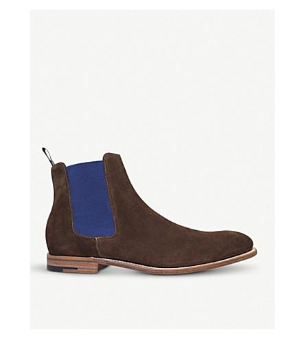 BARKER Hopper suede Chelsea boots (Dark+brown