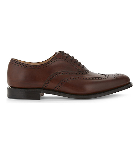 CHURCH Berlin punched leather Oxford shoes (Mid+brown