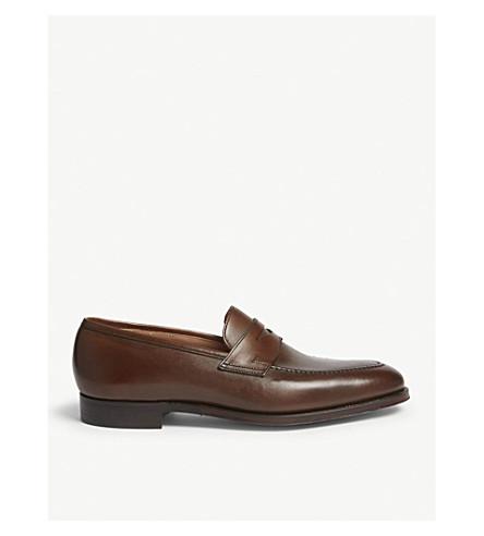 CROCKETT & JONES Sydney leather penny loafers (Dark brown