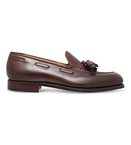 CROCKETT & JONES Cavendish leather tassle loafer (Dark+brown