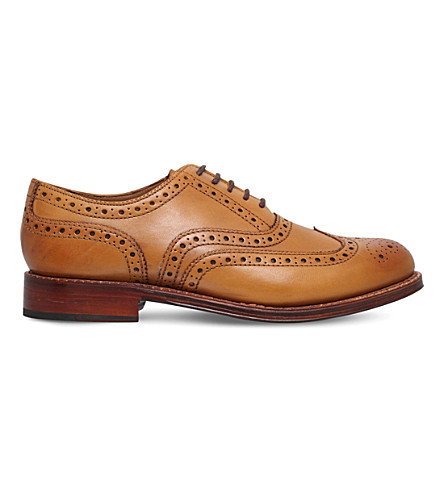 GRENSON Stanley wingtip leather Oxford shoes (Tan