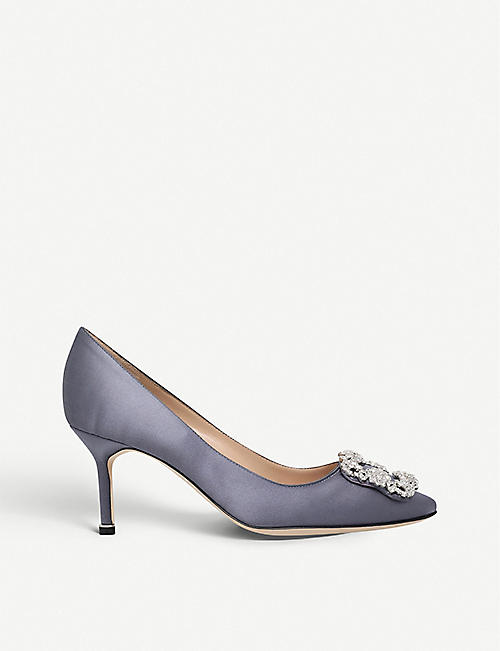 MANOLO BLAHNIK Hangisi 70 Swarovski 水晶装饰缎布宫廷鞋