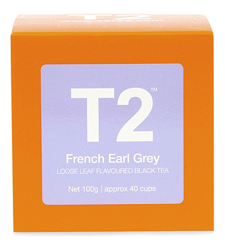 T2 TEA French earl grey loose leaf flavoured black tea gift cube 100g