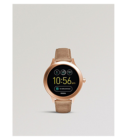 FOSSIL FTW6005P Gen 3 Q Venture rose gold-toned and leather smartwatch