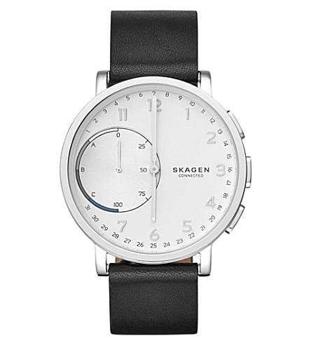 SKAGEN SKT1101 Hagen stainless steel and leather hybrid smartwatch (Black