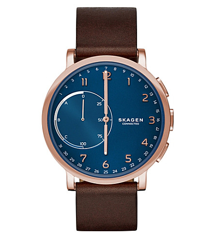 SKAGEN Skagen Connected Hagen Brown Leather Hybrid Smartwatch (Brown
