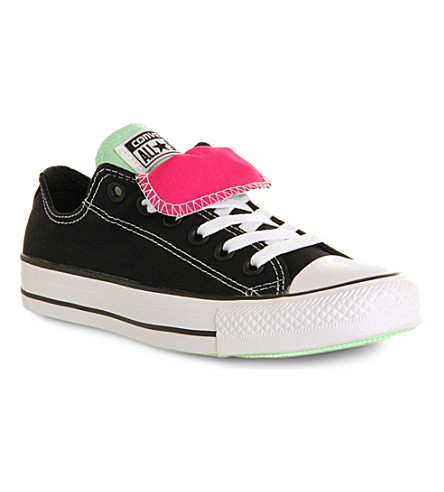 CONVERSE All Star low-top double-tongue trainers (Black green pink