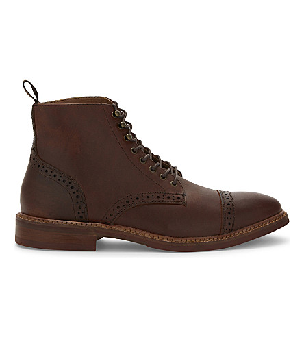 ALDO Gwilawen leather Derby ankle boots (Medium+brown