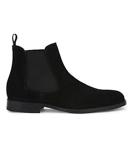ALDO Angelucci 绒面革切尔西靴子 (黑 + 麂皮绒