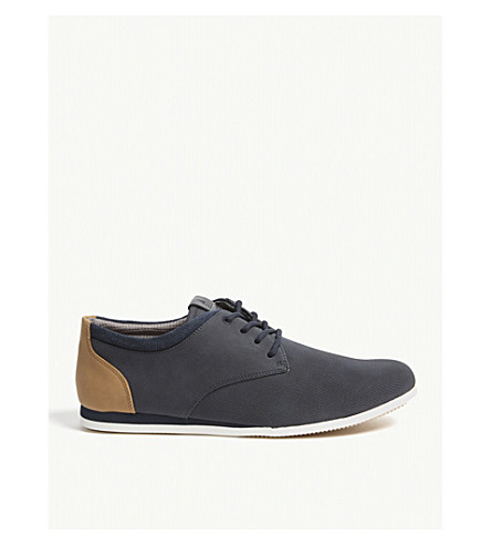 ALDO Aauwen-R leather and mesh trainers (Navy+nabuck