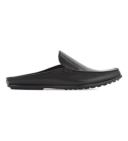 ALDO Alan leather slides (Black+leather