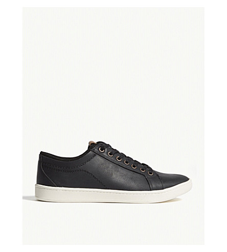 ALDO Sigrun-R leather lace-up trainers (Black+leather