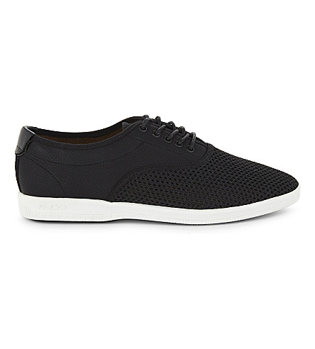 ALDO Lizzi mesh-top trainers (Black+leather