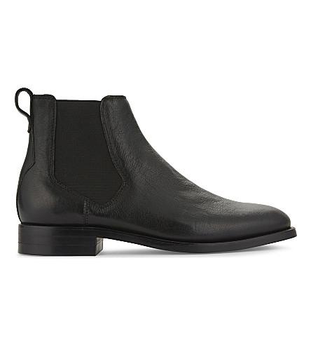ALDO Gilmont 粒皮革切尔西靴 (黑色 + 皮革