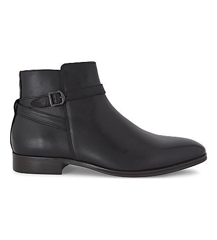 ALDO Godeno 皮革踝靴 (黑色 + 皮革