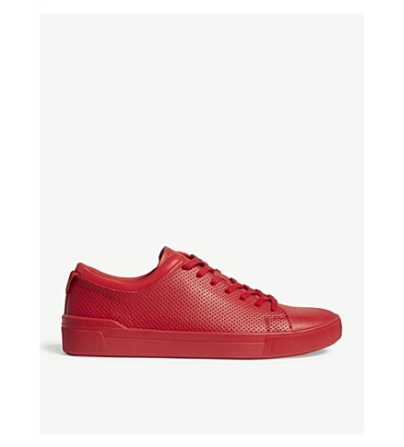 ALDO Godia perforated faux-leather trainers (Red