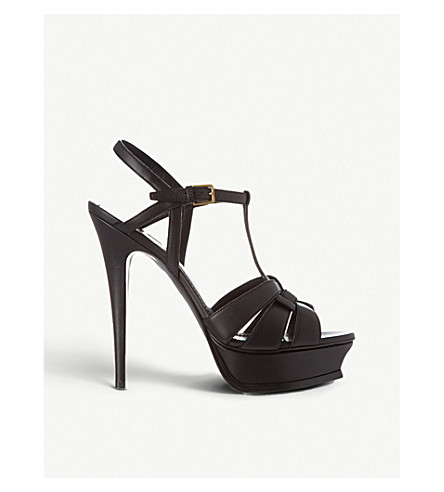 SAINT LAURENT Classic tribute sandals in black leather (Black