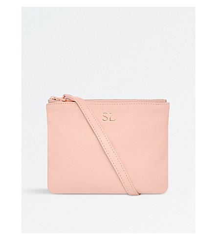 MON PURSE Double pouch grainy leather cross-body bag (Navy/blush