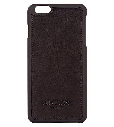 MON WALLET Signature leather iphone 6 plus case (Black