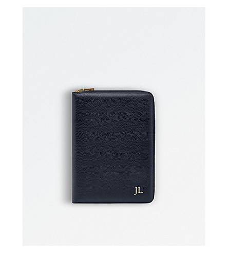 MON PURSE Grainy leather iPad zipped case (Navy+blue
