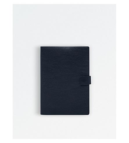 MON PURSE Large grainy leather portfolio cover (Navy+blue