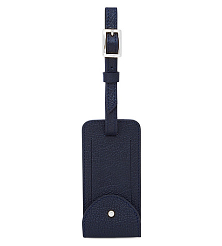 MON PURSE Grained leather luggage tag (Navy