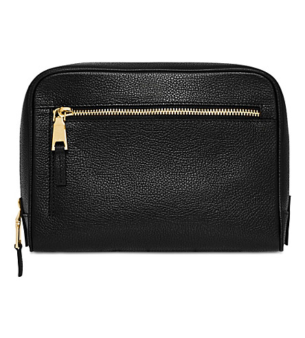 MON PURSE Leather wash bag (Black