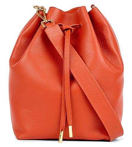MON WALLET Daily leather bucket bag (Brick