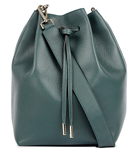 MON PURSE Daily leather bucket bag (Hunter+green