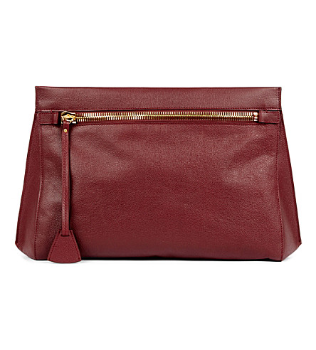MON PURSE Rendezvous oversized leather clutch (Burgundy